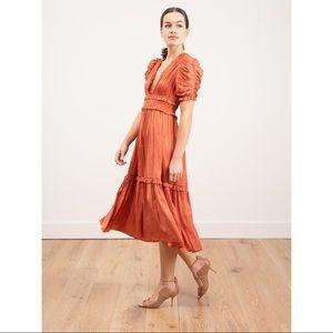 Ulla Johnson Maya Satin Coral Midi Dress 2